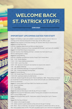 Welcome Back St. Patrick Staff!