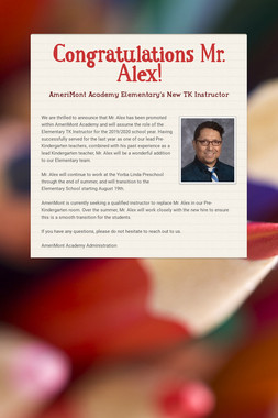 Congratulations Mr. Alex!