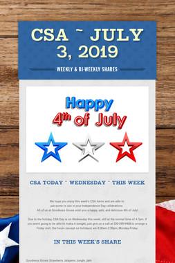 CSA ~ July 3, 2019
