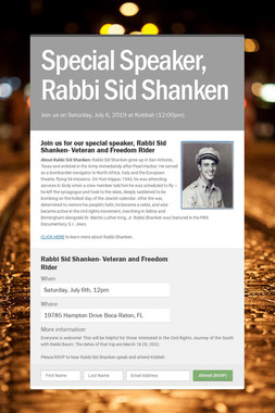 Special Speaker, Rabbi Sid Shanken