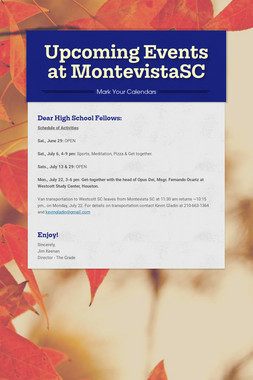 Upcoming Events at MontevistaSC