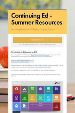 Continuing Ed - Summer Resources