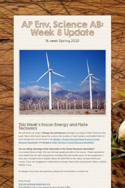 AP Env. Science AB: Week 8 Update