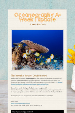 Oceanography A: Week 1 Update