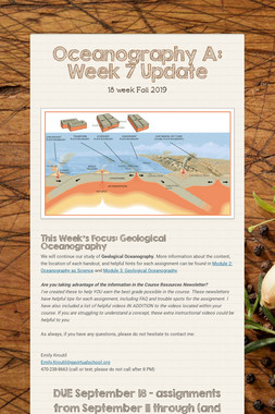 Oceanography A: Week 7 Update