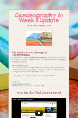 Oceanography A: Week 8 Update