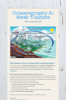 Oceanography A: Week 9 Update