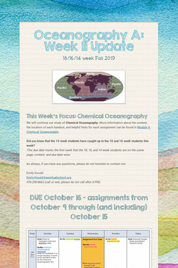 Oceanography A: Week 11 Update