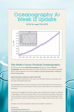 Oceanography A: Week 12 Update