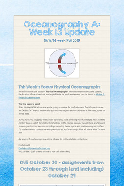 Oceanography A: Week 13 Update