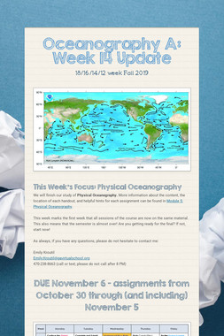 Oceanography A: Week 14 Update