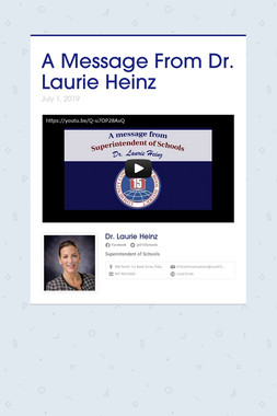 A Message From Dr. Laurie Heinz