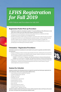 LFHS Registration for Fall 2019