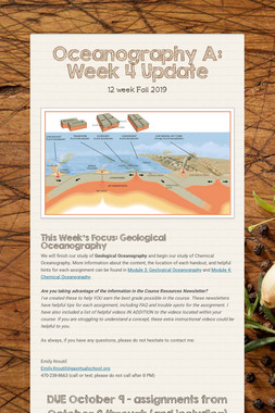 Oceanography A: Week 4 Update