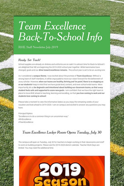 Team Excellence Back-To-School Info