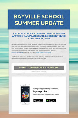 Bayville School Summer Update