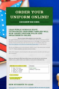 Order your Uniform Online!