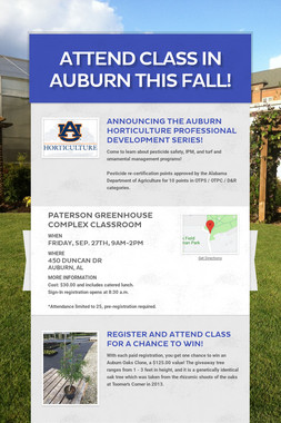Attend class in Auburn this Fall!