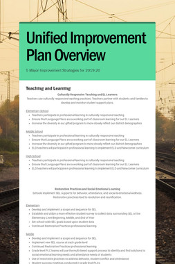 Unified Improvement Plan Overview
