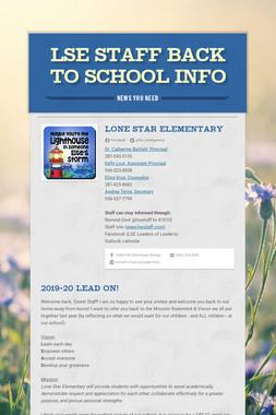 LSE Staff Back to School Info