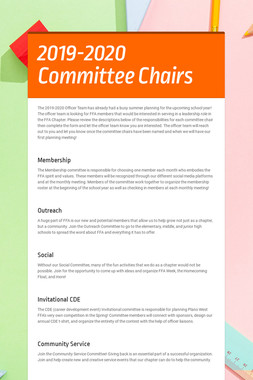 2019-2020 Committee Chairs