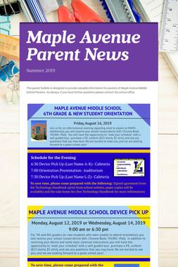 Maple Avenue Parent News