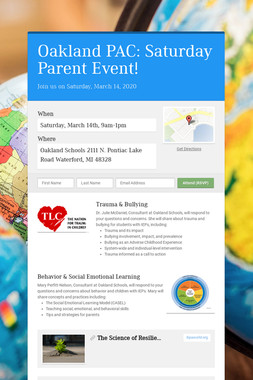 Oakland PAC: Saturday Parent Event!