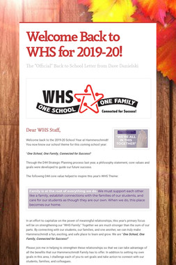 Welcome Back to WHS for 2019-20!