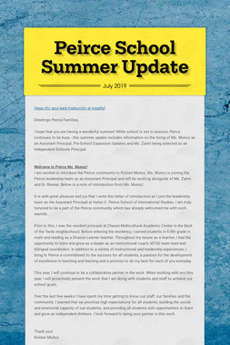 Peirce School Summer Update