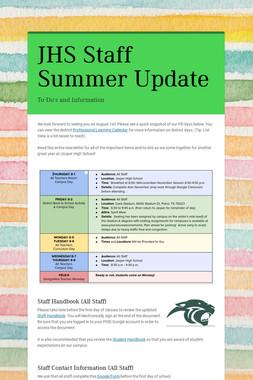 JHS Staff Summer Update