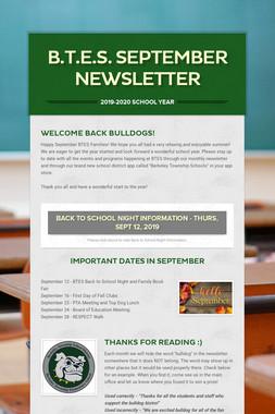 B.T.E.S. September Newsletter