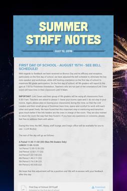 Summer Staff Notes