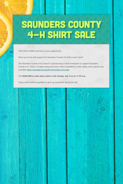 Saunders County 4-H Shirt Sale