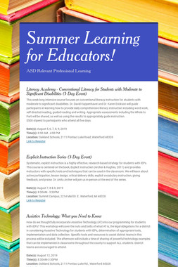 Summer Learning for Educators!