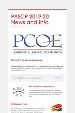PASCP  2019-20 News and Info