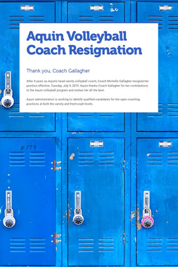 Aquin Volleyball Coach Resignation