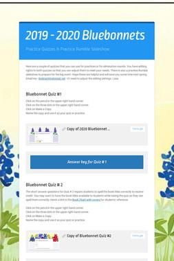 2019 - 2020 Bluebonnets