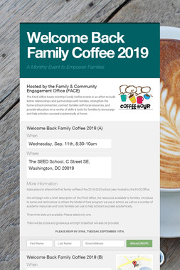 Welcome Back Family Coffee 2019