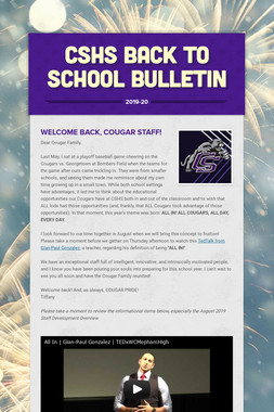 CSHS Back to School Bulletin