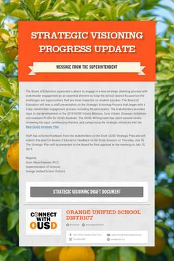 Strategic Visioning Progress Update