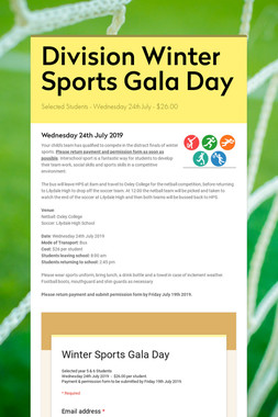 Division Winter Sports Gala Day