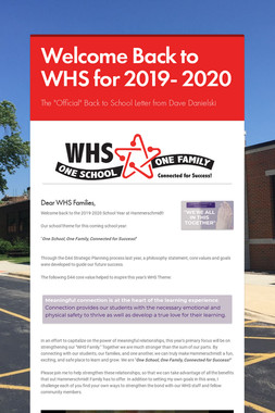 Welcome Back to WHS for 2019- 2020