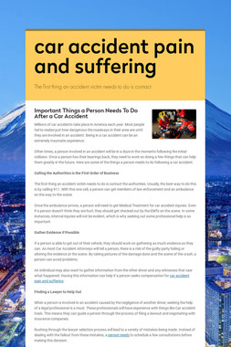 car accident pain and suffering