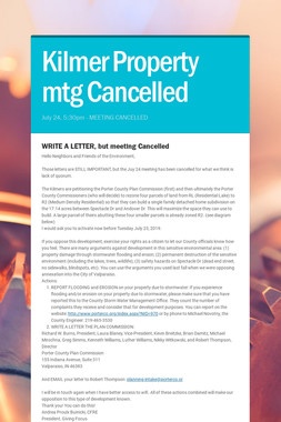 Kilmer Property mtg Cancelled