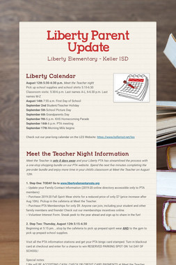 Liberty Parent Update