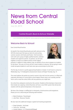 News from Central Road School