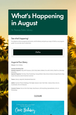 What's Happening in August