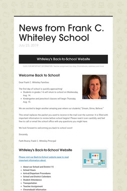 News from Frank C. Whiteley School