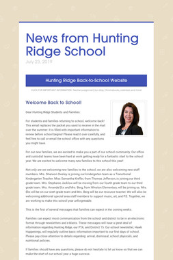News from Hunting Ridge School
