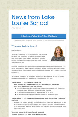 News from Lake Louise School